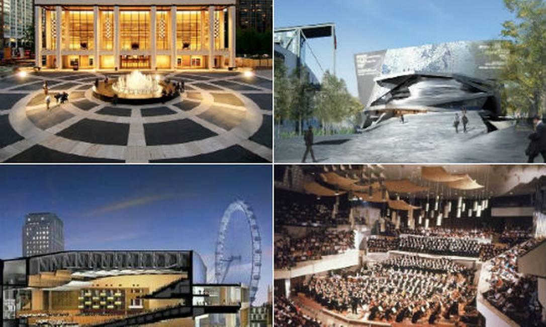 Em sentido horário: Lincoln Center, em nova York; Filarmônica de Paris; Royal Festival Hall, em Londres; e Phillarmonie, em Berlim Foto: Divulgação