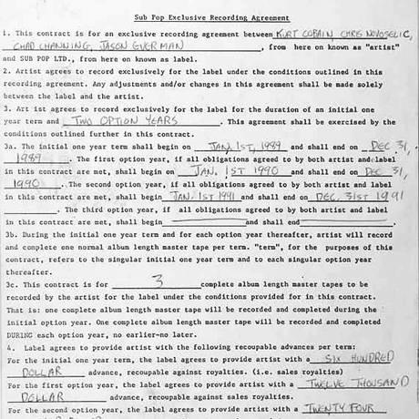 Contrato original do Nirvana com a gravadora Sub Pop Foto: Reprodução