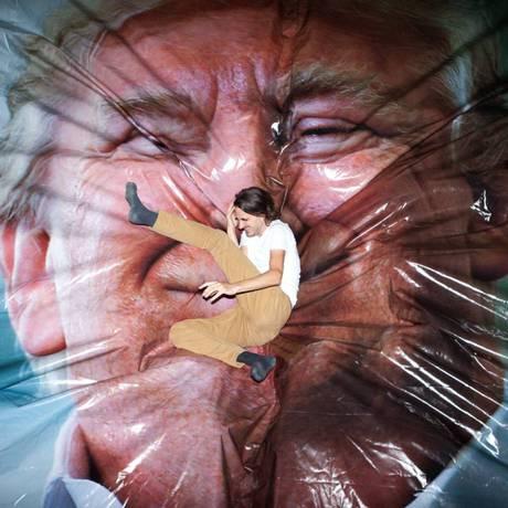 Obra de arte 'Jump Trump' Foto: Getxophoto / Divulgação