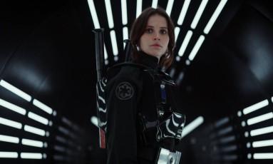Felicty Jones em cena de 'Rogue one: Uma história Star Wars' Foto: Divulgação