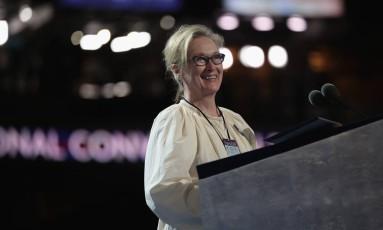 A atriz Meryl Streep na convenção do Partido Democrata Foto: Drew Angerer / AFP