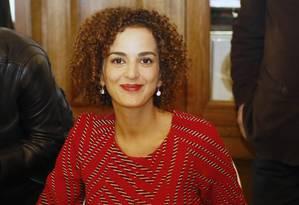 A escritora Leila Slimani durante a entrega do Prix Goncourt Foto: Francois Mori / AP