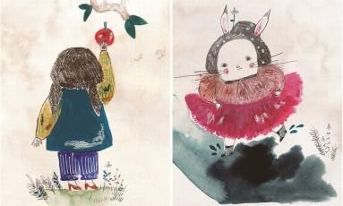 """MUDANÇA DE HÁBITO. Em """"Pode pegar!"""", Janaina Tokitaka usa a figura de um coelho e uma coelha que trocam peças de roupa para falar de gênero Foto: Janaina Tokitaka / Reprodução"""