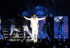 Justin Bieber abre sua apresentação na Apoteose com quase duas horas de atraso Foto: Paula Giolito / Agência O Globo