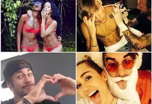 As celebridades mais divertidas do Instagram: Rihanna, Justin Bieber, Neymar e Miley Cyrus são algumas delas Foto: Reprodução