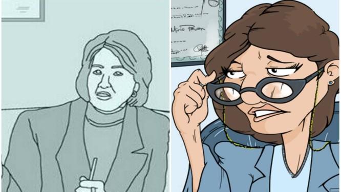 'Psicóloga Direta' muda de rosto: antes retratada pelo espanhol Molg.H (E), personagem ganha traços do brasileiro Pedro Naine (D) Foto: Reprodução