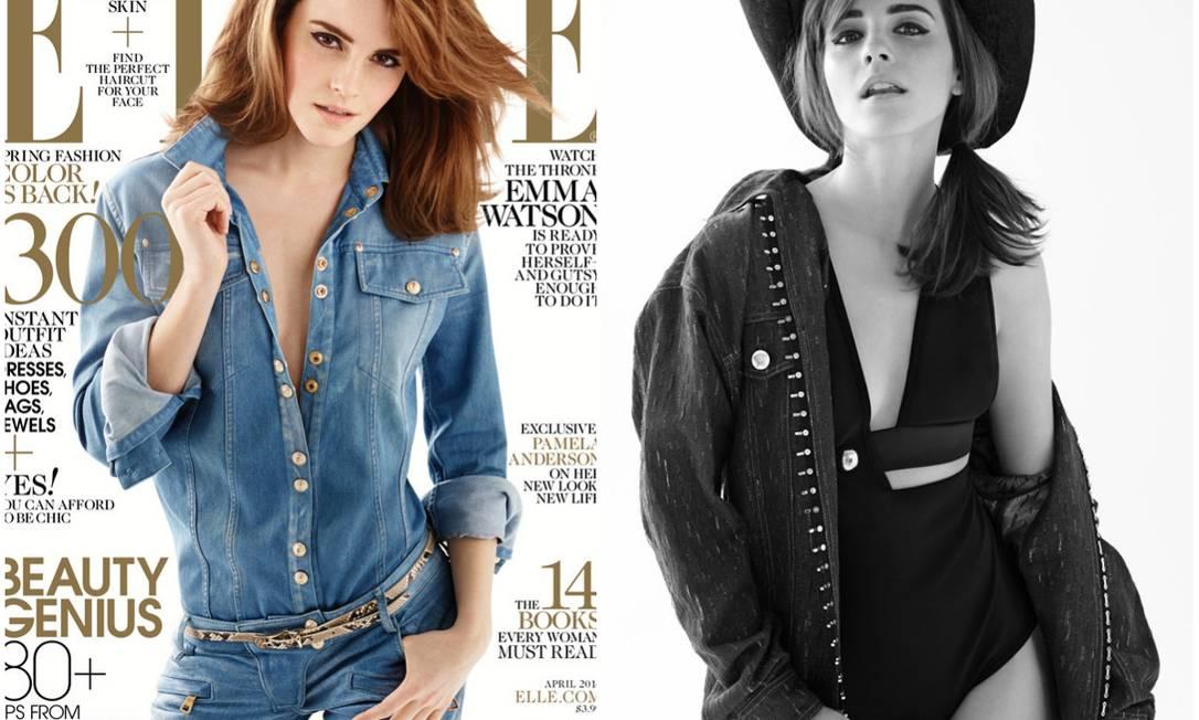 """Atriz Emma Watson é a capa da edição de abril da revista """"Elle"""" americana Foto: Reprodução"""