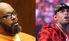 'Suge' Knight (esq.) acusa Brown (dir.) de não fornecer segurança adequada em festa que teve tiroteio Foto: Frederick M. Brown / Scott Roth / AP