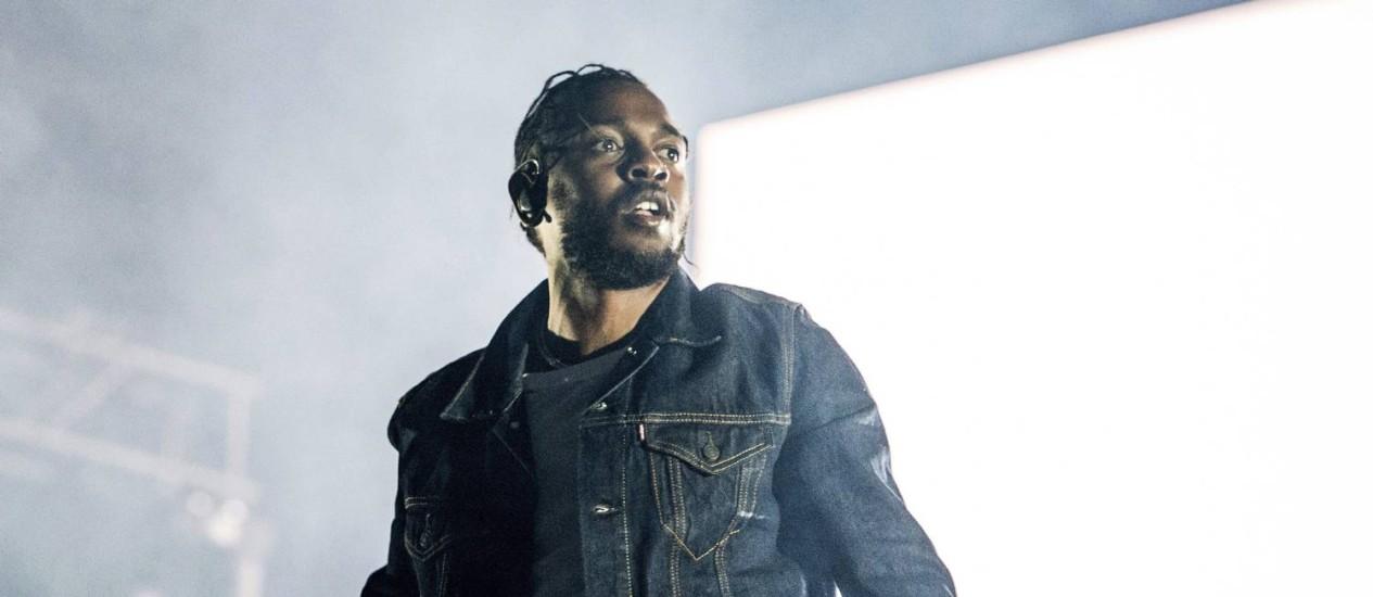 """Lamar em show da turnê de lançamento do álbum """"DAMN."""" Foto: Amy Harris / Amy Harris/Invision/AP"""