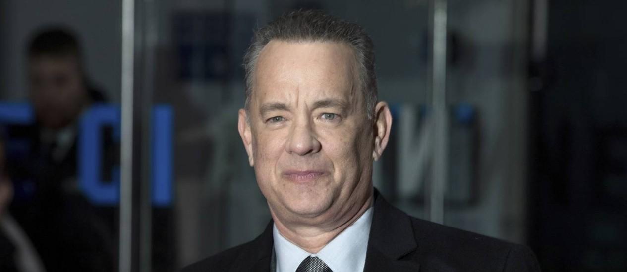 """Tom Hanks em janeiro de 2018, durante a sessão de estreia do filme """"The post"""" Foto: Grant Pollard / Invision/AP"""