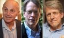 Americanos Eugene Fama e Lars Peter Hansen, da Universidade de Chicago, e Robert J.Shiller, da Universidade de Yale, ganharam Nobel de Economia por trabalhos independentes que buscam compreender a tendência de comportamento dos preços de ativos, como ações, títulos e imóveis Foto: Arte O Globo