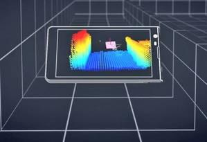 Esquema do Projeto Tango, da Google, mostrando o dispositivo gerando um modelo 3D instantâneo do que aparece para seus sensores Foto: Reprodução
