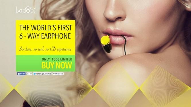 Anúncio dos fones de ouvido Ladobi, da empresa Winzz, feitos exclusivamente para vídeos pornô Foto: Reprodução