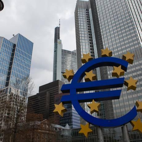 Sede do Banco Central da Europa (BCE), em Frankfurt, na Alemanha Foto: Krisztian Bocsi / Bloomberg