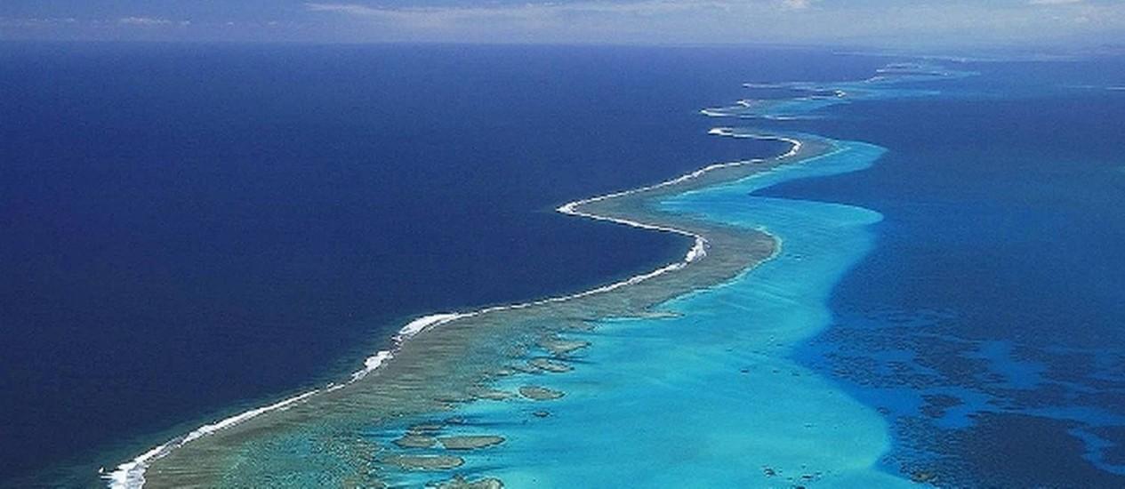 Vista aérea do mar da Nova Caledônia: paraíso Foto: Divulgação/Governo da Nova Caledônia