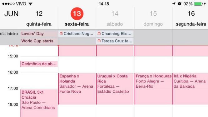 Tela mostrando o calendário da Copa inserido no iPhone Foto: Carlos Alberto Teixeira