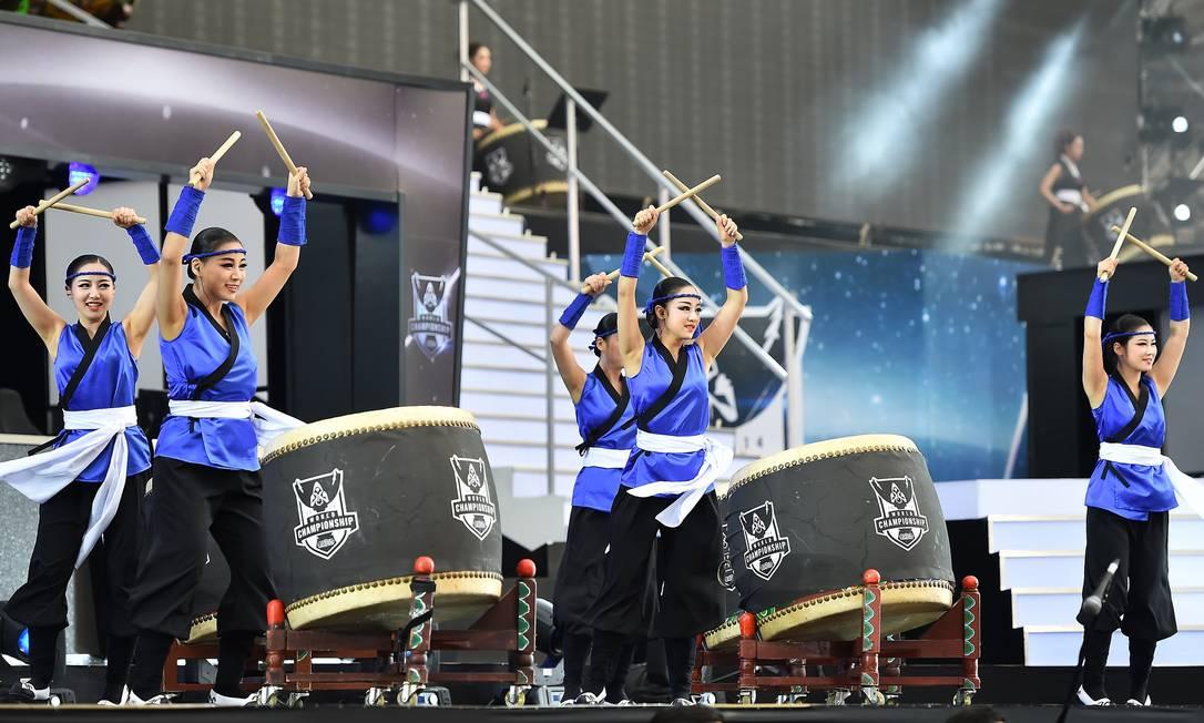 Show de taikô — tambores orientais — na abertura do evento Foto: Divulgação