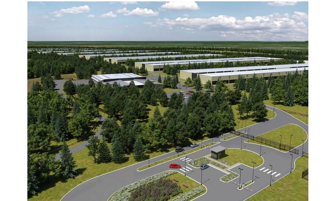 Maquete digital das instalações do data center em Athenry, na Irlanda Foto: Divulgação