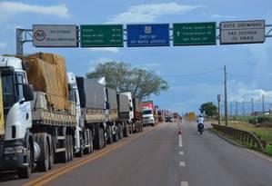 Fila de caminhões na BR 163, em Rondonópolis (MT) Foto: Dnei Matos / MinutoMT