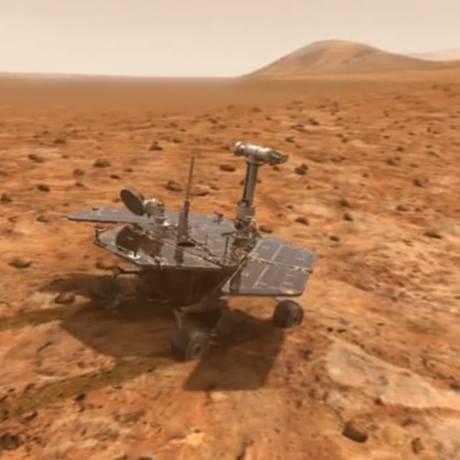 Veículo não-tripulado Mars Rover na superfície do Planeta Vermelho Foto: Divulgação