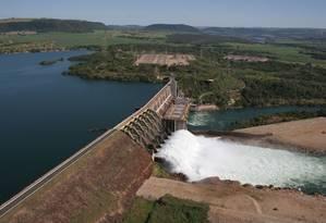 Vista aérea da usina hidrelétrica de Jaguara Foto: Divulgação