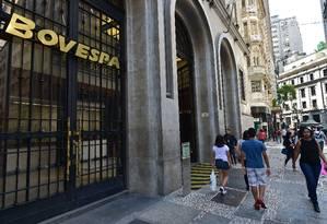 Sede da Bolsa de Valores de São Paulo, na capital do estado Foto: Nelson Almeida / AFP