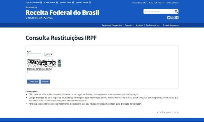 Página de consulta ao Imposto de Renda Foto: Reprodução