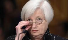 Janet Yellen, presidente do Federal Reserve, em pronunciamento na Comissão Bancária do Senado Foto: Susan Walsh / AP