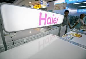 Loja de eletrodomésticos da Haier, em Xangai. Empresa comprou divisão da GE em janeiro Foto: Kevin Lee / Bloomberg
