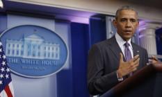 Presidente Barack Obama em discurso na Casa Branca, em Washington Foto: Carlos Barria / Reuters