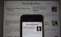 Aplicativo do 'New York Times' Foto: Andrew Harrer / Bloomberg