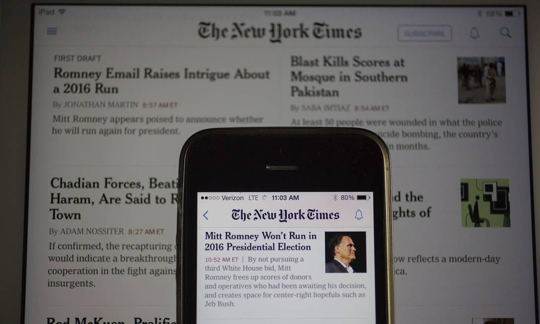 Jornal fechou 2018 com 3,4 milhões de assinantes digitais Foto: Andrew Harrer / Bloomberg/Arquivo