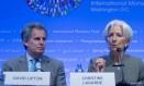 Christine Lagarde, diretora-gerente do FMI, e David Lipton, primeiro vice-diretor gerente Foto: Andrew Harrer / Bloomberg