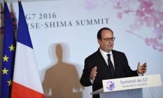 O presidente francês, François Hollande, na cúpula do G7, em Ise-Shima, Japão Foto: Stephanie de Sakutin / AFP