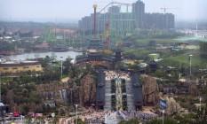 Parque temático do complexo de entretenimento Wanda City, que pretende ser o principal concorrente da Disney na China Foto: Mark Schiefelbein / AP