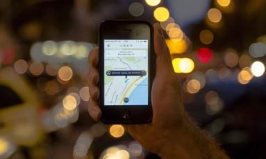 Tela do aplicativo Uber Foto: Leo Martins / Agência O Globo