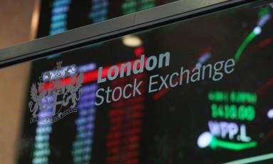 Letreiro da Bolsa de Londres Foto: Chris Ratcliffe / Bloomberg