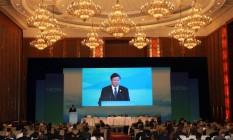 Lou Jiwei, ministro das Finanças chinês, discura na reunião do G-20 em Chengdu, China Foto: Ng Han Guan / Reuters