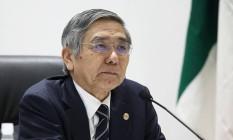 Haruhiko Kuroda, presidente do Banco Central do Japão Foto: Tomohiro Ohsumi / Bloomberg