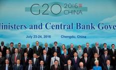 Ministros das Finanças e presidentes dos bancos centrais do G-20 Foto: Ng Han Guan / Reuters