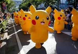 Desfile Pikachu é festa anual em Tóquio para fãs do jogo e anime Foto: KIM KYUNG-HOON / REUTERS