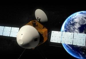 A sonda espacial que deve ser lançada em 2020, numa ilustração da agência espacial chinesa Foto: AP