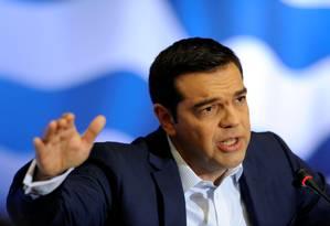 O primeiro-ministro da Grécia, Alexis Tsipras Foto: Alexandros Avramidis / Reuters