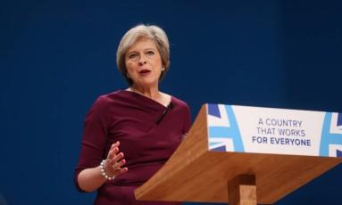 Theresa May, primeira ministra do Reino Unido Foto: Chris Ratcliffe / Bloomberg
