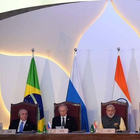 Os líderes do Brics Foto: Prakash Singh / AFP