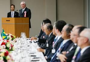 Temer discursa na federação nacional das indústrias do Japão Foto: Reprodução