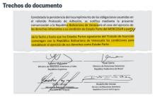 Carta de suspensão da Venezuela Foto: Reprodução
