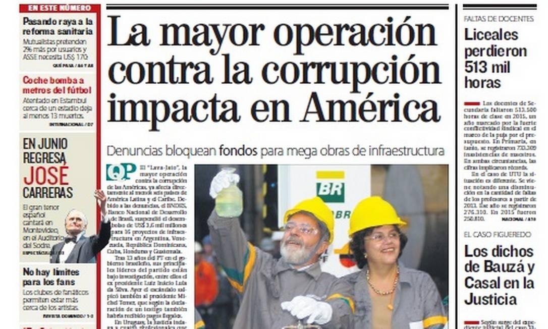 Capa do jornal 'El País', Uruguai Foto: Reprodução