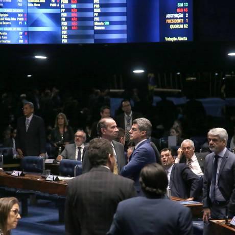 Plenário do Senado durante votação em segundo turno da PEC 55 Foto: Jorge William / O Globo