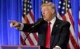 Presidente eleito dos Estados Unidos, Donald Trump, em coletiva de imprensa em Nova York Foto: Timothy A. Clary / AFP